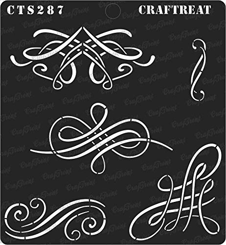 CrafTreat Stencil - Calligraphy Swirls | Reusable Painting Template for Journal, Notebook, Home Decor, Crafting, DIY Albums, Scrapbook and Printing on Paper, Floor, Wall, Tile, Fabric, Wood 6