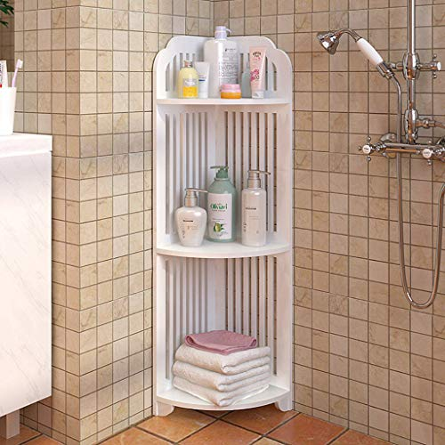 CapsA 4-Tier Corner Wire Shelf US Fast Shippment Bathroom Corner Shelf Free Standing Corner Storage Rack Floor-Mounted Triangular Floor Storage Rack (3-Tier)