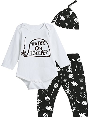 3PCS Baby Boys' Trick Or Treat Halloween Outfit Set Long Sleeve Bodysuit (12-18 Months)]()