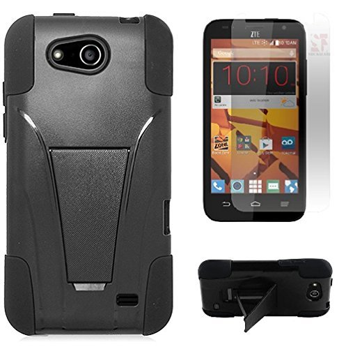 [SlickGears™] Heavy Duty Impact Armor Dual Layer Kickstand Case for ZTE SPEED N9130 Boost Mobile + Premium LCD Screen Protector Combo (Black) by Lifefactory