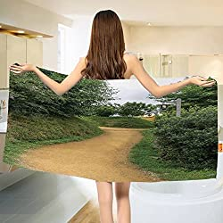 Hobbits Bath towel Elf Path in Woods of Hobbit Land in The Shire New Zealand Movie Set Image Print Cotton Beach Towel Green Brown (55x28)