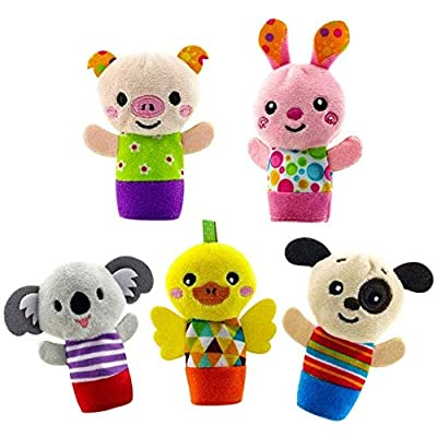 5PCS/Set Finger Puppet Cute Cartoon Biological Animal Plush Toys Child Baby Favor Dolls Boys Girls Finger Puppets: Home & Kitchen