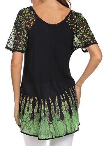 coupe mancherons Cora batik haut motif Marine Vert Sakkas chemisier relax brode q8Httw