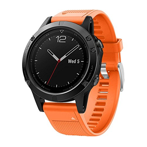 Price comparison product image GBSELL Quick Install Replacement Silicagel Soft Sport Band Strap For Garmin Fenix 5 GPS Watc (Orange)