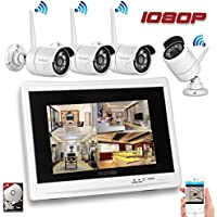 YESKAM Wireless Security Camera System 1080P 12 LCD HD Monitor 4 Channel 2.0 Megapixel CCTV Kit Built in 2TB Surveillance Hard Drive for Home Outdoor and Indoor Video Monitoring