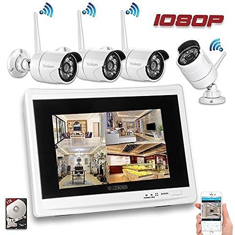 YESKAM Wireless Security Camera System 1080P 12