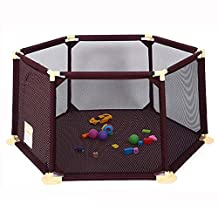 Baby Shining Kids Playard Toy Tents Baby Playpens Children Safety Household Protective Fence 1-5Y Assembled House Play Yard (6ft, Brown)