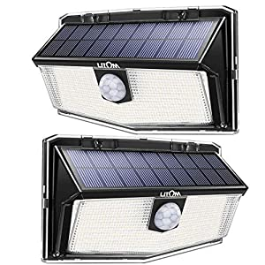 300 LED Solar Lights Outdoor, LITOM Solar Motion Sensor Security Lights with 270° Wide Angle, 3 Intelligent Lighting…