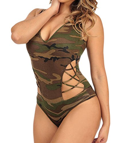 Womens Sexy Strappy Deep V Neck Cut Out Camouflage Bodysuit Large Army Green (Sexy Camo Outfits)