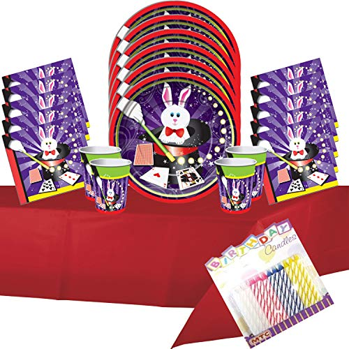 Magic Party Supplies Pack Serves 16: Dinner Plates Luncheon Napkins Cups and Table Cover with Birthday Candles - Deluxe (Bundle for 16) -