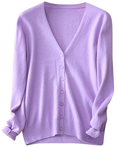 Women's Casual Button Down V Neck Long Sleeve Soft Basic Cashmere Cardigan Sweater, Lilac, Tag L = US M(8-10)