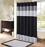 Black and Grey Shower Curtain Comfort Spaces – Windsor Shower Curtain – Black - Grey – Panel Design - 72x72 inches