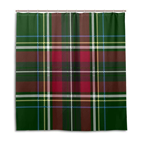 Amanda Billy Square Pattern Green Bottom Lines Natural Home Shower Curtain, Beaded Ring, Shower Curtain 72 x 72 Inches, Modern Decorative Waterproof Bathroom Curtains