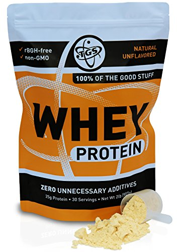 TGS All Natural 100% Whey Protein Powder Unflavored, Undenatured, Unsweetened Low Carb, Soy Free, Gluten Free, GMO Free (2 lb)