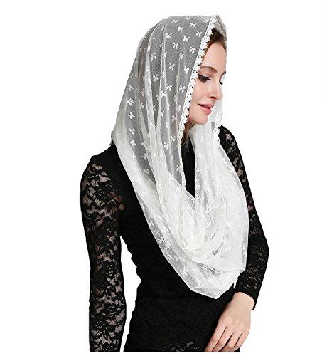 Clover decoration ivory infinity scarf mantilla church veil v38 (Ivory - Scarf Veil