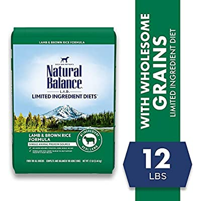 Natural Balance L.I.D. Limited Ingredient Diets Dry Dog Food, 12 Pounds, Lamb & Brown Rice Formula