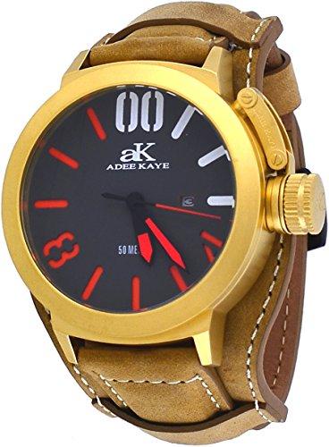 Adee Kaye #AK7285-MG/TAN847 Men's Gold Tone Canteen Crown Protector Leather Band Watch