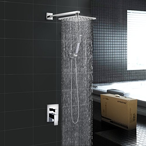 EMBATHER Brass Rainfall Shower Systems Wall Mouthed with rain shower head 10 inch - Adjustable Shower Holder for luxury bathroom Shower Set, Polished Chrome (Shower Fixtures Luxury)