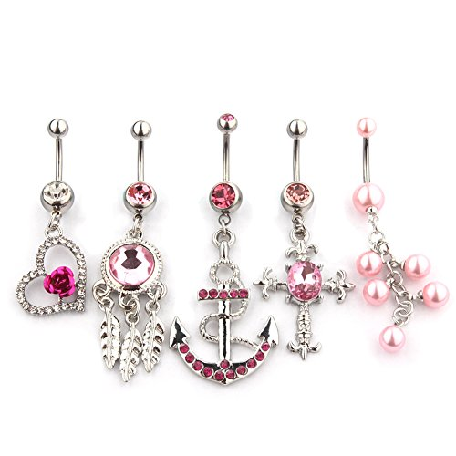 5 Belly Button Rings Body Jewelry Piercing Wholesale Assorted Vcmart
