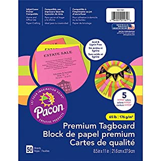 Pacon PAC101161 Premium Tagboard Assortment, 65 lb., Hyper Colors, 50 Sheets