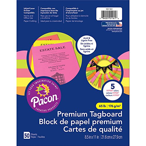 Pacon PAC101161 Premium Tagboard Assortment, 65 lb, Hyper Colors, 50 ()