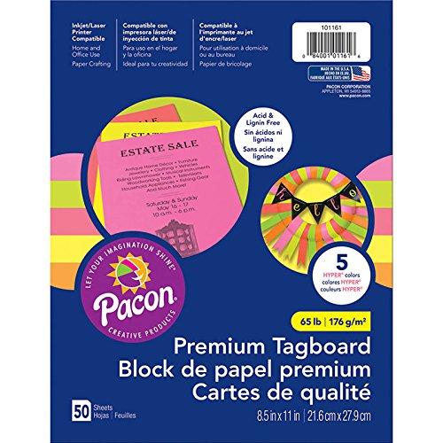 Assortment Hyper Colors (Pacon PAC101161 Premium Tagboard Assortment, 65 lb, Hyper Colors, 50 Sheets)