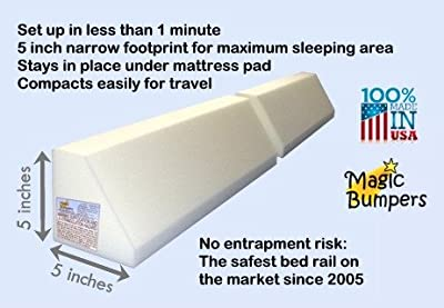 [2 Pack] Magic Bumpers Child Bed Safety Guard Rail 48 Inch - Travel Size: Two-Part Design