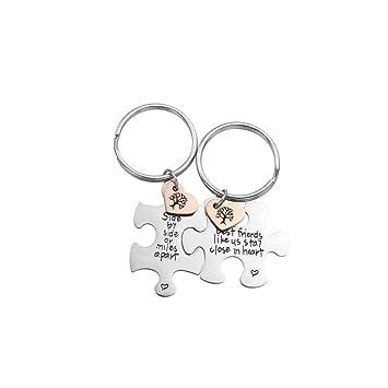 Fengteng Silber Puzzle Schlüsselanhänger Mit Gravur Herz Side By