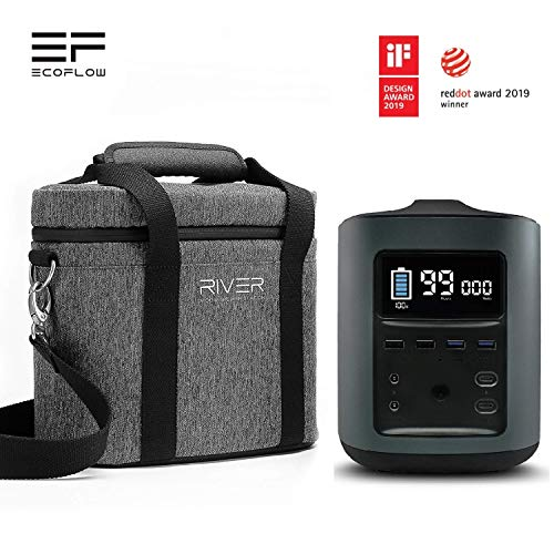 EF ECOFLOW River Portable Power Station Generator 412Wh 114000mAh High Capacity 500W Output Max Quiet Rechargeable Emergency Power Supply 11 Charging Ports with Padded Carry Bag Black
