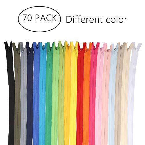 KINGSO 70 pcs Nylon Coil Zippers DIY Tailor Sewer Craft Accessories 12 inch Seeing Craft Tools 20 Color