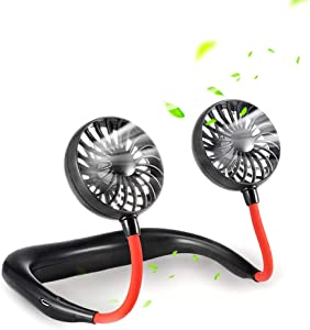 SIENON Portable Fan Hand Free Neck Fan Headphone Design Rechargeable Mini USB Personal Fan Wearable Sports Fan with 3 Speeds 360 Degree Adjustment Dual Wind Head for Home Office Travel Outdoor Indoor