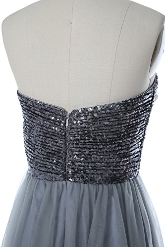 Formal Wedding Sequin Gray Gown Black Women Strapless MACloth Long Bridesmaid Party Dress qnpxWcFS