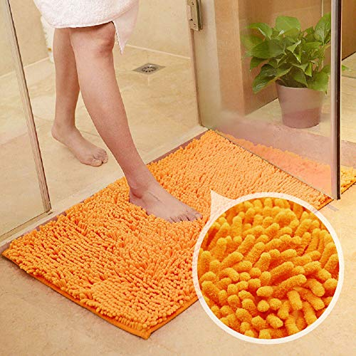 (MAXYOYO Orange Bath Rugs Bathroom Mats and Rugs Non Slip Ultra Soft Chenille Rug/Bathmat/Toilet Mat/Toilet Rug/Shower Rug Washable Rug Super Absorbent Throw Rug 19.7 x 31.5 Inch )