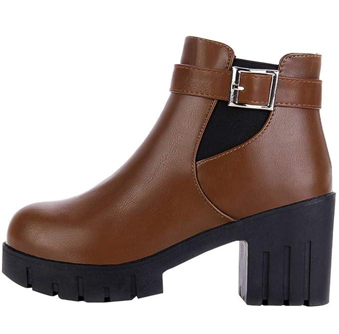 QVRGE Martin Botas Zapatos De Mujer Otoño E Invierno Botas Botines British Botas  Tacones Altos  Amazon.es  Ropa y accesorios ef6c75ffbcd2