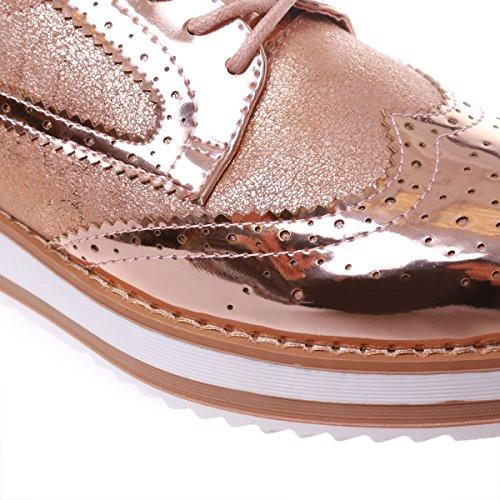 La Modeuse - Zapatos de cordones para mujer Doré rose