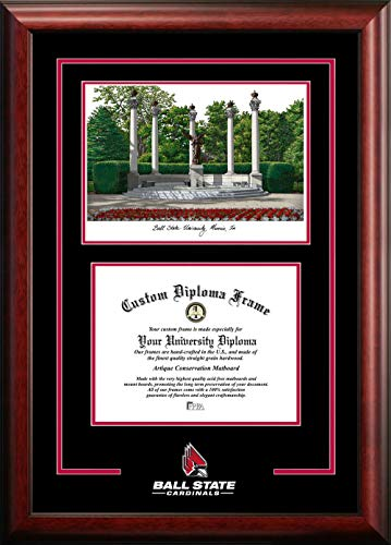 Campus Images IN985SG Ball State University Spirit Graduate Diploma Frame with Lithograph Print, 8