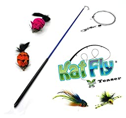 Kat Fly Teaser Wand with 4 Cat Teasers Refills - BLUE
