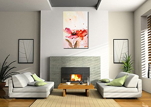 Beautiful Peony in Red Watercolor King of Flowers Home Deoration Wall Decor