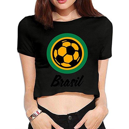 GBKEM Brazil Football Soccer Circles (3c) Summer Crop Tops Street T Shirt Bare Midriff Sexy Tshirt (Sexy Brazil)