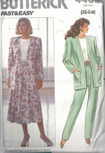 Butterick 4469 Sewing Pattern for 1989, Misses' or Misses' Petite Wardrobe with Unlined Jacket, Flared Skirt, Pull on Pants and Shell Top in Sizes Xs S M or 6, 8-10, 12-14. ()