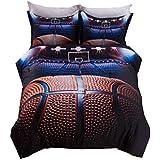 AMOR & AMORE Boys Comforter Set Basketball 3D Men Sports Bedding Set (Queen Size)