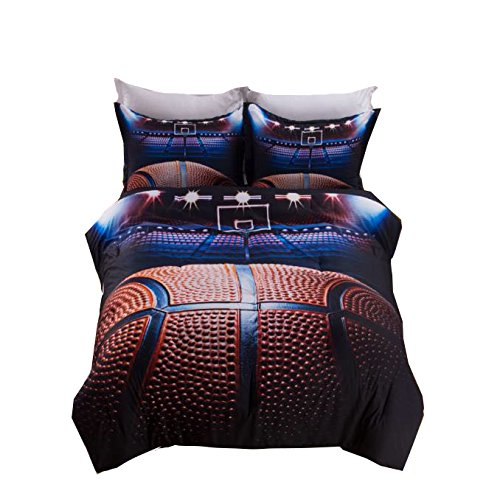 AMOR & AMORE 3D Basketball Sports Ball Bedding Boys Comforter Set, 3pc Microfiber Men Teen Boys Kids Sports Bedding Set having Pillowcases (Twin Size)