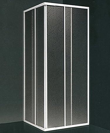 mampara de ducha angular, tamaño CM.80 X 80 (reducible de CM.68 A CM.80), Corredera Color blanco De Acrílico: Amazon.es: Bricolaje y herramientas