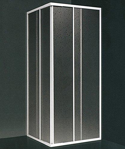 Box doccia angolare, misura cm.90x90 (riducibile da cm.78 a cm.88), scorrevole colore bianco in acrilico