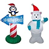 Polar Bear & Penguin w/ North Pole Sign BUNDLE - Christmas Inflatables by Gemmy