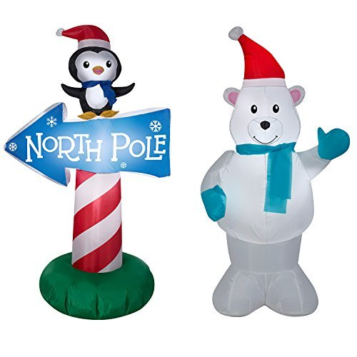 Polar Bear & Penguin w/ North Pole Sign BUNDLE - Christmas Inflatables by Gemmy