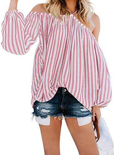 Asvivid Womens Stripped Spaghetti Strap Halter Off The Shoulder Blouse Long Sleeve Ladies Shirt Tops S Pink