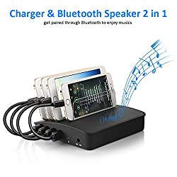 Charging Station, Siroflo 4-Port USB Charging Station Dock Charger, Smart Charging and Bluetooth Speaker 2 in 1, Fastest and Stable Charging Dock Organizer for Multiple Devices Smartphone Cellphone