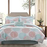 Madison Park Essentials Knowles Twin Size Bed Comforter Set Bed in A Bag - Aqua, Coral, Geometric Dots – 7 Pieces Bedding Sets – Ultra Soft Microfiber with Cotton Sheets Bedroom Comforters