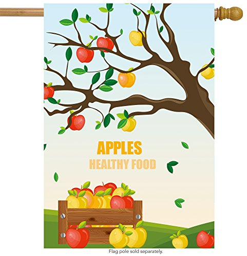 ShineSnow Apple Tree Autumn Harvest House Flag 28'' x 40'' Double Sided, Polyester Fruit Thanksgiving Seasonal Colorful Welcome Yard Garden Flag Banners for Patio Lawn Outdoor Home Decor by ShineSnow